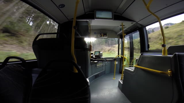 POV of Shuttle bus on its way to the ski resort.  - filmed in Kaprun, Austria, Europe