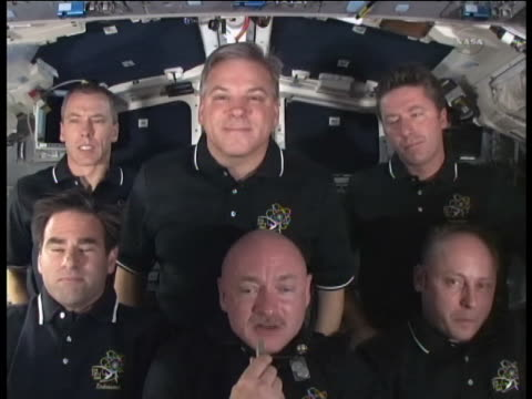 stockvideo's en b-roll-footage met shuttle commander mark kelly sot on the final mission of endeavour saying that it is bittersweet us space shuttle endeavour flew its 25th and final... - missiehuis