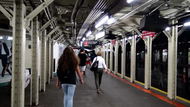 """pov, shuttle subway """"s"""", times square, new york city - 50 seconds or greater stock videos & royalty-free footage"""