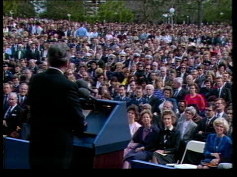 Shuttle wreckage Shuttle wreckage ITN MATERIAL HELD IN W'TON Johnson Space Centre CMS President Reagan speaking BV Ditto as audience seated in front...
