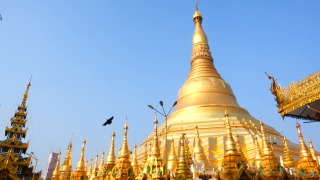shwedagon pagoda in yangon, myanmar - pagoda stock videos and b-roll footage