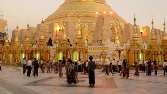 shwedagon pagoda, yangon, myanmar - myanmar video stock e b–roll
