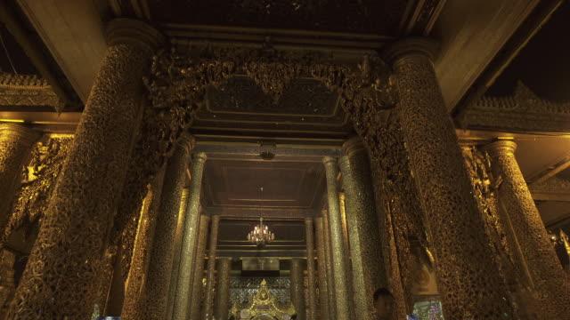 w/s long dolly track forward shwedagon pagoda, yangon (myanmar), night - circa 6th century stock videos & royalty-free footage