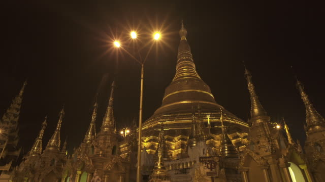 W/S LONG DOLLY TRACK SIDE Shwedagon Pagoda, Yangon (Myanmar), night