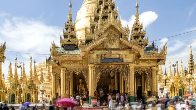 shwedagon paya yangon, - spira tornspira bildbanksvideor och videomaterial från bakom kulisserna