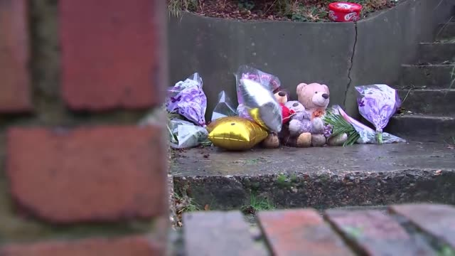 arthur simpsonkent arrested for murder of actress and two sons wall pan balloons and soft toys with flowers at makeshift memorial by steps silver... - 仮設追悼施設点の映像素材/bロール
