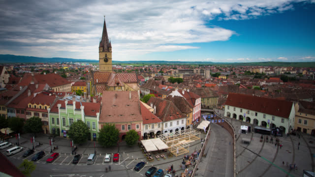 time lapse: sibiu - romania stock videos and b-roll footage