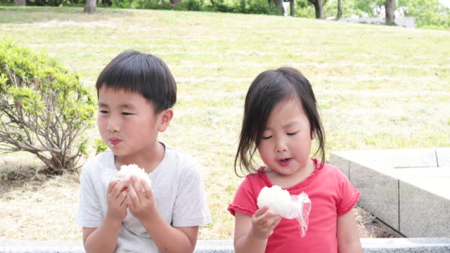 sibling eating rice ball in the park - rice ball stock videos & royalty-free footage