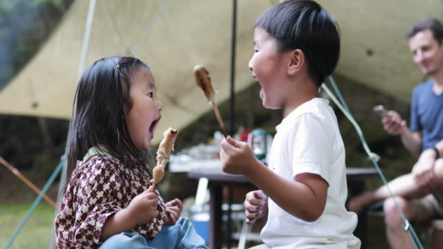 sibling enjoy camping - offbeat stock videos & royalty-free footage