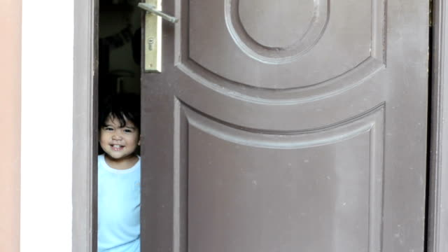 sibling open door - indonesian ethnicity stock videos & royalty-free footage
