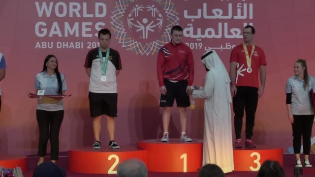 stockvideo's en b-roll-footage met siblings daniel and denise henaghan from whitley bay in newcastle win gold and bronze at the special olympics world games in abu dhabi both siblings... - whitley bay