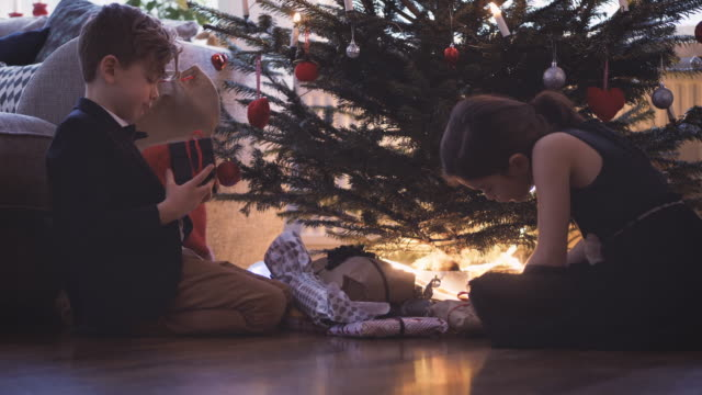 siblings holding christmas presents while sitting by tree at home - sister stock videos & royalty-free footage