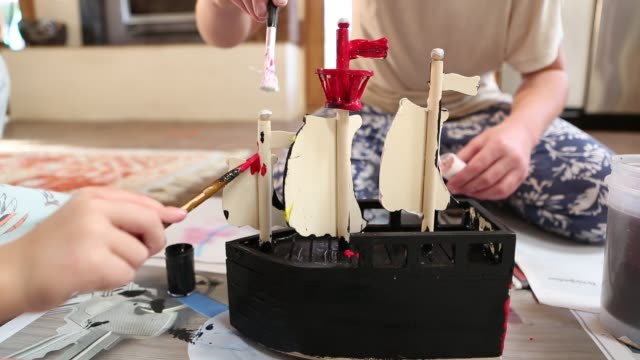 siblings painting wooden ship - lamy new mexico stock videos and b-roll footage