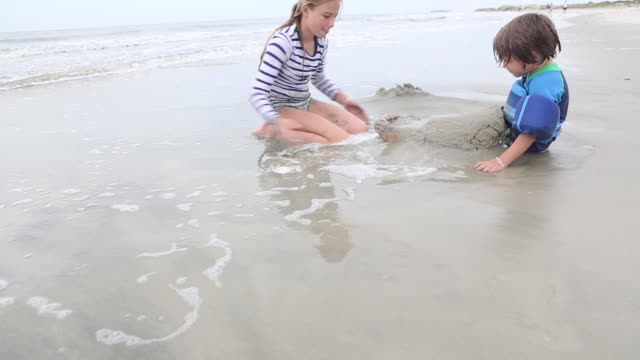 siblings playing at the beach - maglietta video stock e b–roll