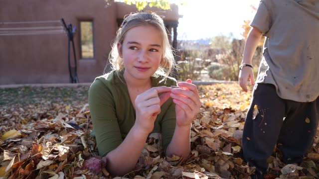 siblings playing in pile of autumn leaves - 10 seconds or greater stock videos & royalty-free footage