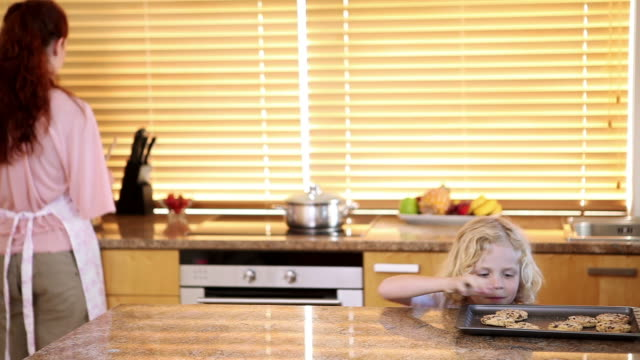 stockvideo's en b-roll-footage met siblings stealing cookies from the kitchen counter behind their mothers back - steel