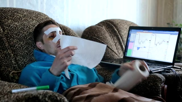 Sick man at home after surgery on the nose.