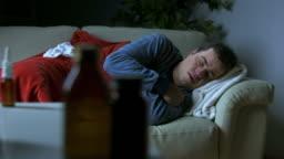 HD DOLLY: Sick Man Coughing At Night