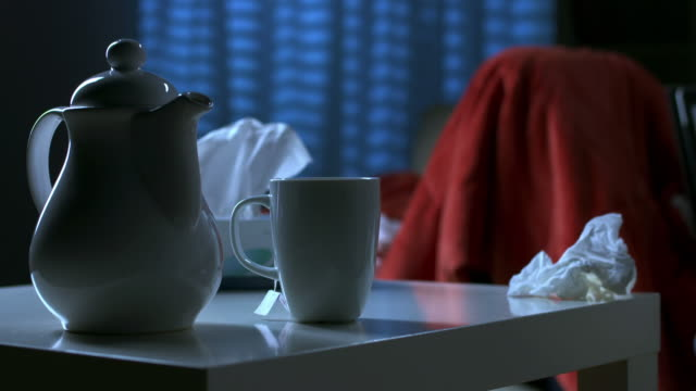 HD: Sick Man Using Digital Tablet At Night