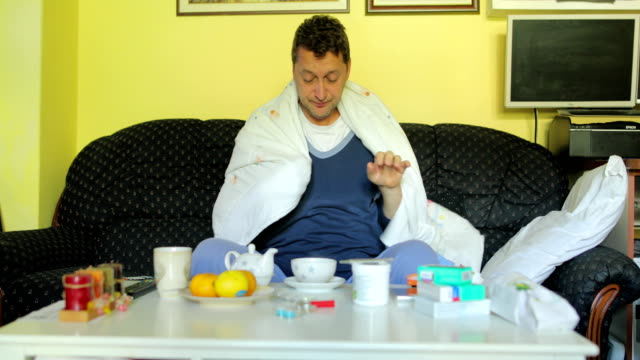 Sick man with flu