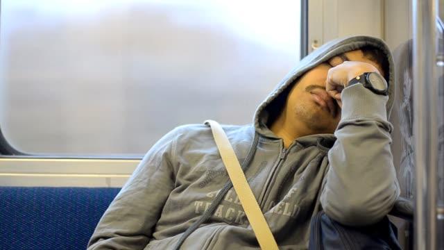 sick men in subway - asian man coughing stock videos & royalty-free footage