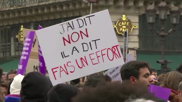 sick of rape let's tackle sexist violence thousands of women and men take to the streets of paris to denounce sexist and sexual violence a year after... - social movement stock videos & royalty-free footage
