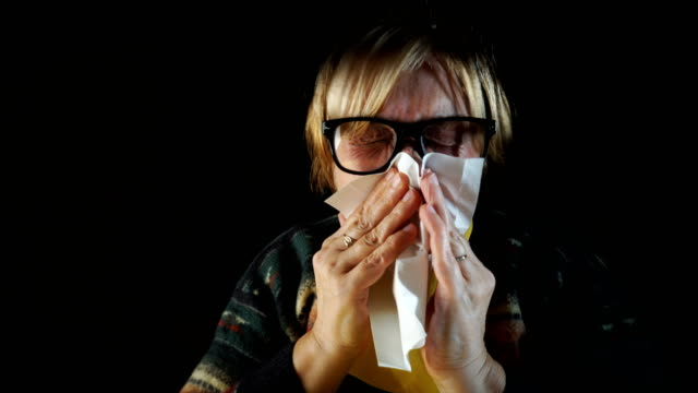 sick senior woman - hay fever stock videos and b-roll footage