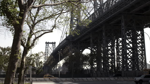 Side angle of the Williamsburg suspension bridge, Cars travel by on The FDR and trees are featured.