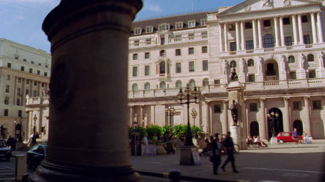 side car point of view bank of england + royal exhange / london, england - finance stock videos & royalty-free footage