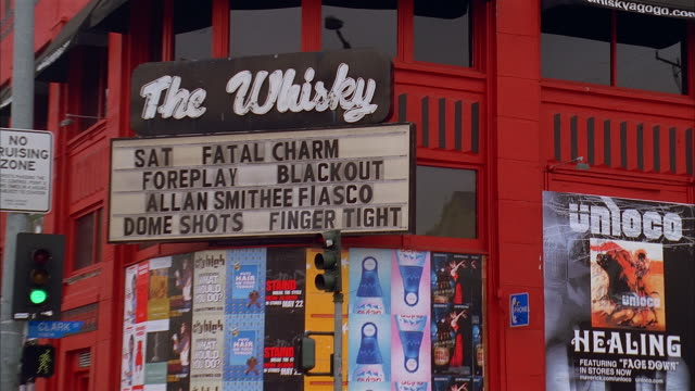 side car point of view looking up at marquee for whisky a go-go on sunset strip / west hollywood, california - west hollywood stock videos & royalty-free footage