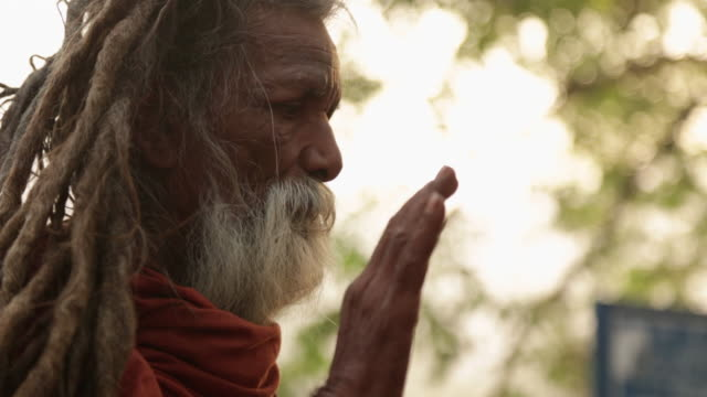 vídeos de stock, filmes e b-roll de side profile of a sage worshipping, rishikesh, uttarakhand, india - rishikesh