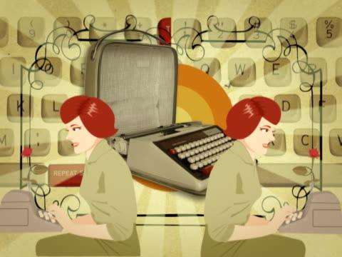 side profile of two businesswomen typing - typewriter keyboard stock videos & royalty-free footage