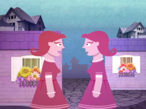 side profile of two girls talking in front of buildings - mittellanges haar stock-videos und b-roll-filmmaterial