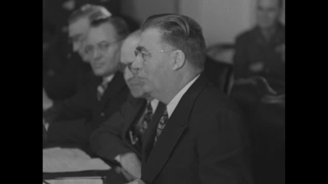 cu side shot member of senate military affairs committee listening to hearing testimony of gen dwight eisenhower army chief of staff / chairman... - complexity stock videos and b-roll footage