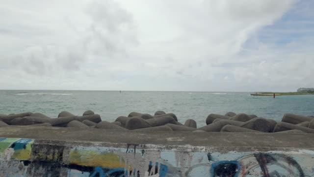 Side POV shot of walking by the ocean.