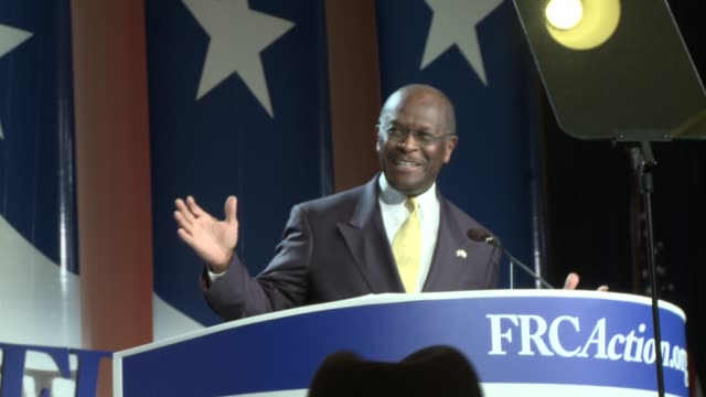 side shots of herman cain with natural sound herman cain gop presidential candidate at value voters summit omni shoreham hotel on october 08 2011 in... - 2012 united states presidential election stock videos & royalty-free footage
