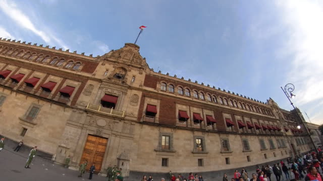 side to side of the national palace in mexico city - torre latinoamericana stock videos & royalty-free footage