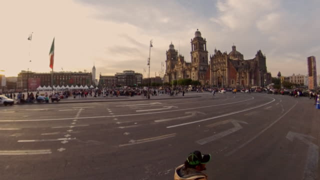 side to side of the zocalo and cathedral in mexico city - zocalo mexico city stock videos & royalty-free footage