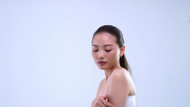 side view beauty girl take care her skin body with left copy space - beauty treatment stock videos & royalty-free footage
