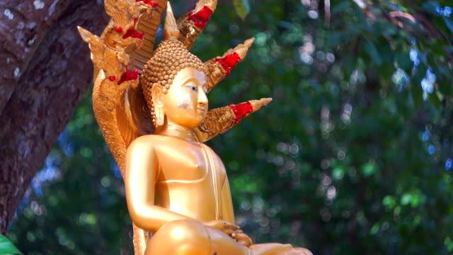 Sidan Visa Buddha-statyn, buddhistiska tempel, gamla stan, Koh Lanta, Krabi, Thailand