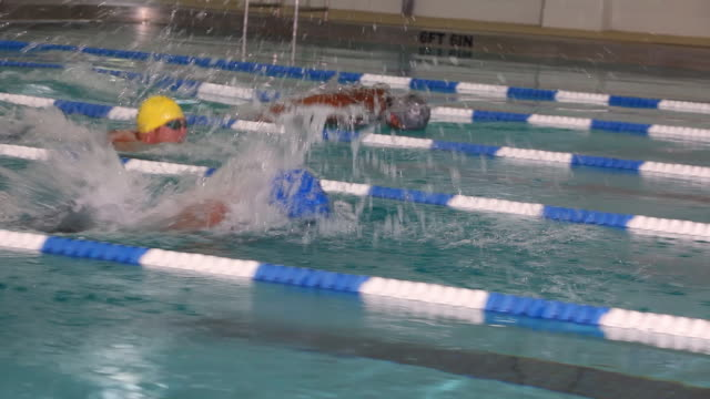 side view following a professional swimmer doing a butterfly stroke down a lane during a swim meet in an indoor olympic sized swimming pool - butterfly stroke stock videos and b-roll footage