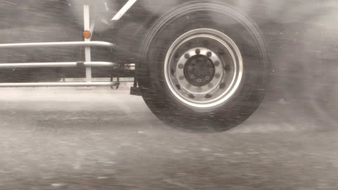 side view from car / rainstorm / slow motion /driving studio process plate - articulated lorry stock videos & royalty-free footage