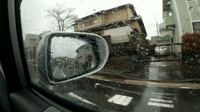 side view from car / side view mirror / residential district - wing mirror stock videos & royalty-free footage