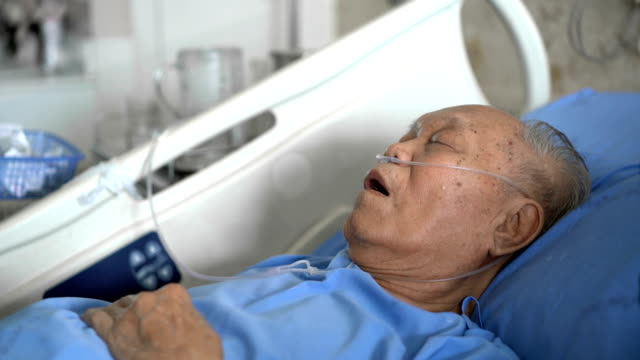 side view grey hair senior male patient sleeping in hospital - mouth open stock videos & royalty-free footage