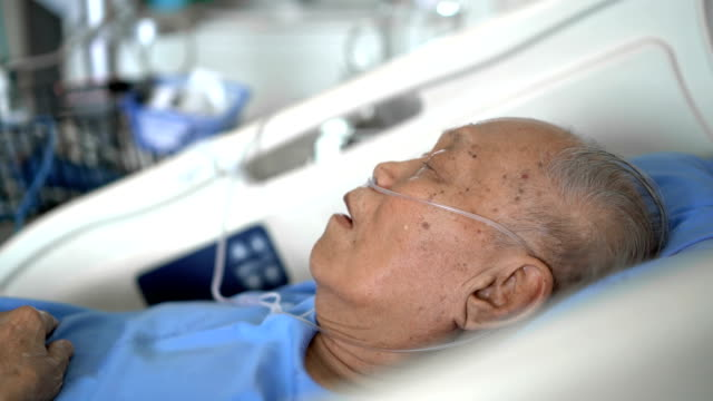 side view grey hair senior male patient sleeping in hospital - death stock videos & royalty-free footage