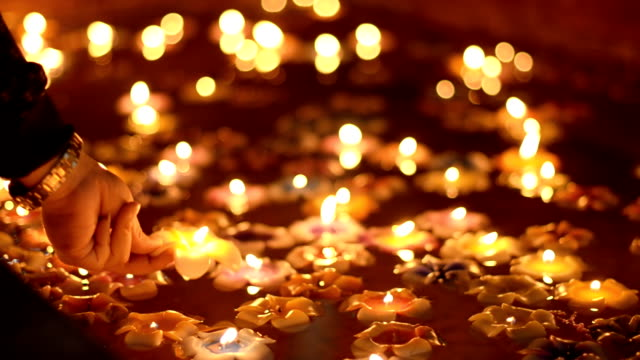 side view : loy krathong festival day - lotus water lily stock videos and b-roll footage