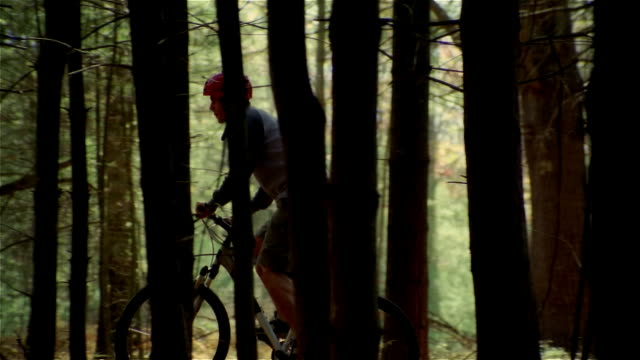 side view man wearing red helmet riding mountain bike uphill in woods - uphill stock videos & royalty-free footage