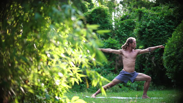side view of a millennial hippie man with blonde dreadlocks moves from upward facing dog to downward facing dog to warrior ii poses on a yoga mat in the grass surrounded by nature - warrior person stock videos & royalty-free footage