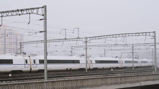 Side View of China's High Speed Rail Train (or CRH) in Beijing