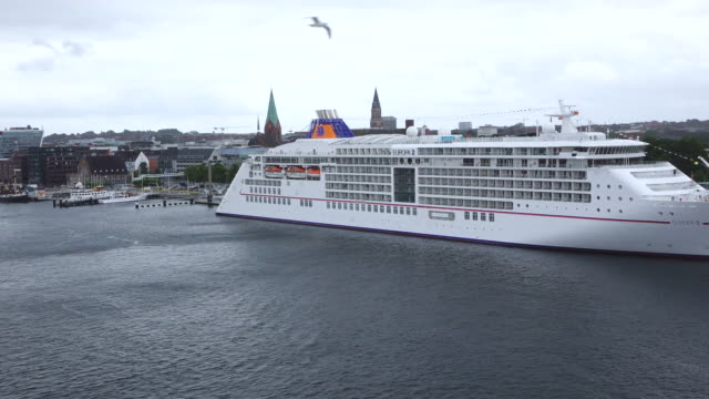 WS Side POV View of Cruise ship at harbour / Kiel, Schleswig-Holstein, Germany